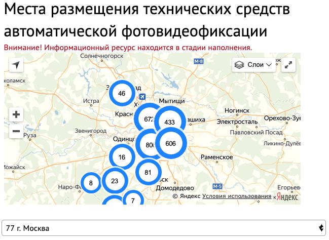Карта расположения камер на дорогах